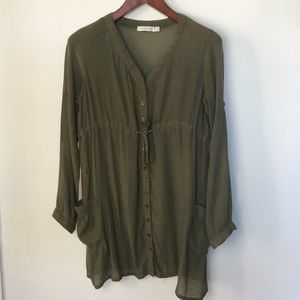MINK PINK Sheer Olive Green Long Sleeve Tunic